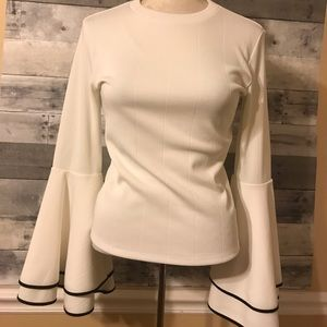 LEITH Nordstrom White Black Top Bell Sleeve Small